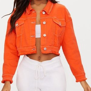 Bright Orange Cropped Denim Jacket